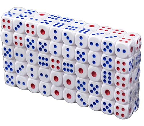 Standard Würfel 100 Stück Set sechsseite Spielwürfel weiß Acryl mit abgerundteten Ecken 1,4 x 1,4 cm mit gestanzen und bedruckten Punkten