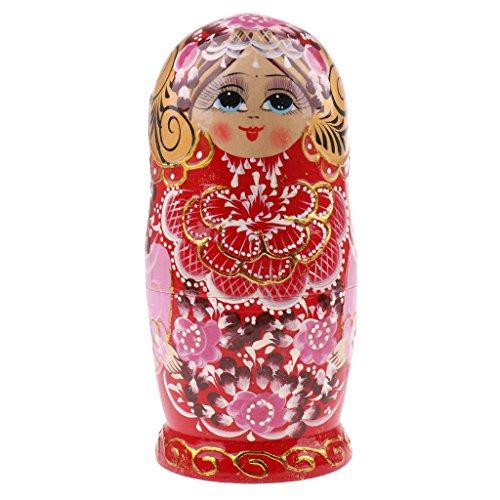 sharprepublic Holzspielzeug Russische Nistpuppen Matroschka Handarbeit Ornament 5 // 6/7 / 10St - # 7, 7-teilig