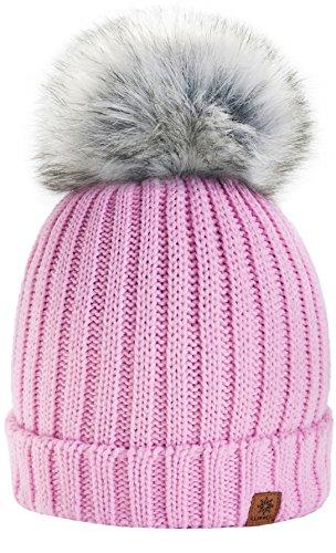 4sold Rita Kinder Wurm Winter Style Beanie Strickmütze Mütze mit Fellbommel Bommelmütze HAT SKI Snowboard (Rosa)