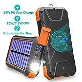 Power Bank sans fil rapide 20000mAh,chargeur solaire améliorer batterie externe,alimentation d'urgence portable avec ports d'entrée type C,boussole pour Android/IOS smartphones/téléphones et autres