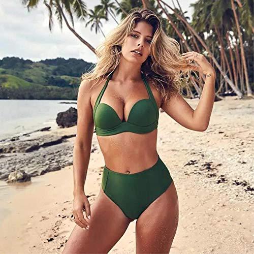 Dames Push-up driedelige bikinisets, Open-back badpak met hoge taille en een bikinibroekje, groen elastiek, zachte elastische sportieve badpakken