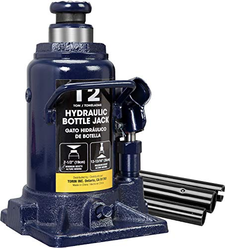TCE AT91207AU Torin Hydraulic Stubby Low Profile Welded Bottle Jack, 12 Ton (24,000 lb) Capacity, Blue