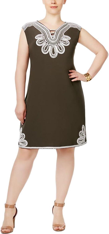 Alfani Womens Plus SoutacheEmbroidered CutOut Casual Dress