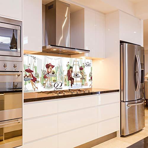 wandmotiv24 Küchenrückwand Paris Cafe Kaffee Comic Hut Popart 160 x 60cm (B x H) - Acrylglas 4mm Nischenrückwand Spritzschutz Fliesenspiegel-Ersatz M1139