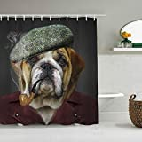N\A Duschvorhang H&eliebhaber Hipster Tier Bordeaux Bulldogge Nettes Welpenkleid als Gentleman wasserdichte Badeinlagen Haken inklusive - Badezimmer Dekorative Ideen