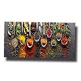 AMOYER 1pc Épices sur Table Food Kitchen Canvas Wall Art Alimentaire Image Peinture Moderne Poster Toile Modulaire Photo Kitchen Restaurant 30x60cm