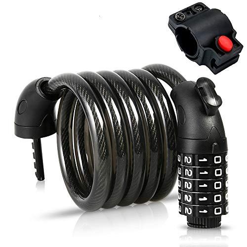 ZXY Básica De Candado De Bicicleta De Cable, De 5 Dígitos Reajustable Combinación De La Cerradura De Seguridad, Espiralado Cerraduras para Bicicletas Moto Scooter,150cm
