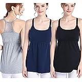 SUIEK 3PACK Nursing Top Tank Cami Maternity Shirt Sleep Bra for Breastfeeding (Large,...