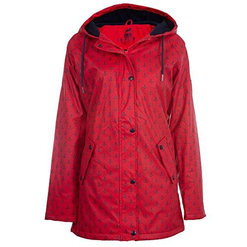 Michael Heinen - Cappotto invernale da donna foderato in pile, impermeabile, antivento Rosso-blu navy 44
