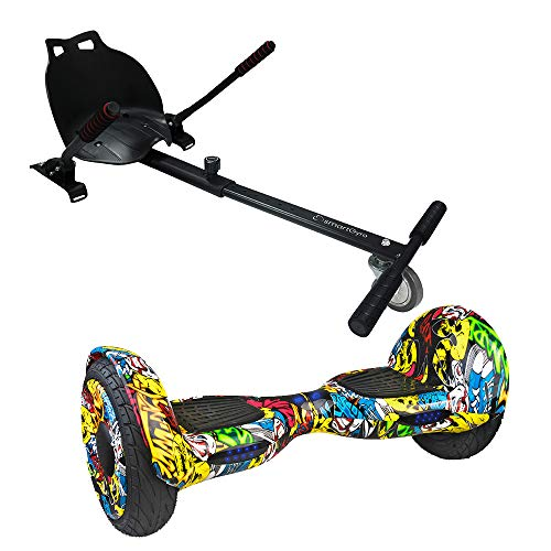 """SMARTGYRO Xl1 Street + Go Kart Black - Pack Hoverboard XL1 Street + Go Kart (Ruedas de 10"""" Neumáticas, Batería de Litio, Estructura de Kart Resistente y cómoda), Silla más Patinete eléctrico"""