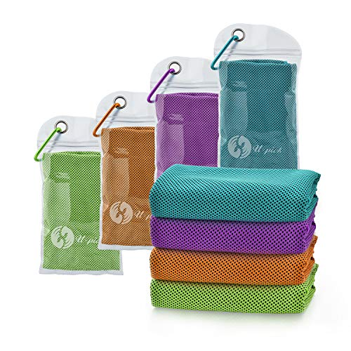 """U-pick 4 Packs Cooling Towel (40""""x 12""""), Ice Towel,Microfiber Towel,Soft Breathable Chilly Towel for Yoga,Sport,Gym,Workout,Camping,Fitness,Running,Workout&More Activities (4 Color Collection-F)"""