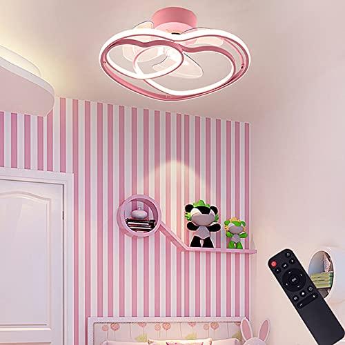 VOMI Plafón Lámpara Rosa LED Ventilador de Techo con Luz y Mando a Distancia Regulable Creativo Corazón Diseño Decorativo Plafones Dormitorio de Niñas Aluminio para Habitación Infantil 50CM