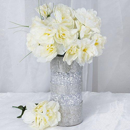 BalsaCircle 60 Cream Silk Peony Flowers - 12 Bushes - Artificial Flowers Wedding Party Centerpieces Arrangements Bouquets Supplies