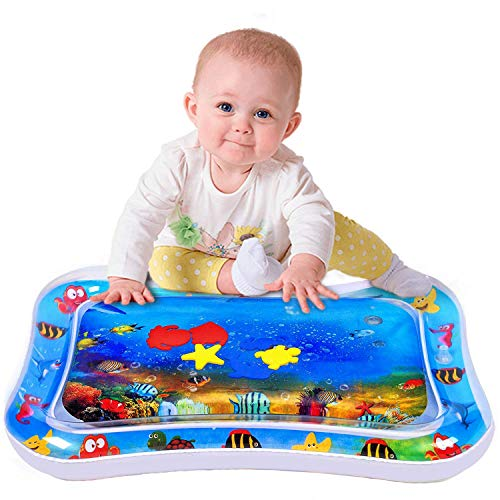 Best Review Of Inflatable Tummy Time Baby Water Mat Promotes Early Development Newborns Fun Floor Pl...