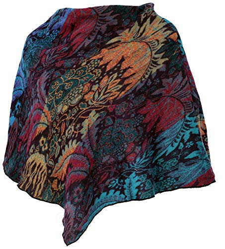 GURU SHOP Poncho Hippie Chic, Kurzer Poncho, Damen, Regenbogenfarben, Synthetisch, Size:40, Jacken, Mäntel & Ponchos Alternative Bekleidung
