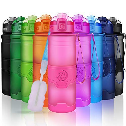 ZORRI Sports Water Bottle, 400/500/700ml/1L, BPA Free Leak Proof Plastic Bottles Outdoors,Camping,Cycling,Fitness,Gym,Yoga- Kids/Adults Drink Bottles Filter,Flip Top,Lockable Lid Open 1 Click