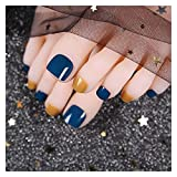 VIAIA 24 unids/Set Nails Fake Toe Nails Dark Blue Orange Lovely Summer Summer Press On ToeLails Patch Chica Toe Decoration con Pegamento TY (Color : As Shown)