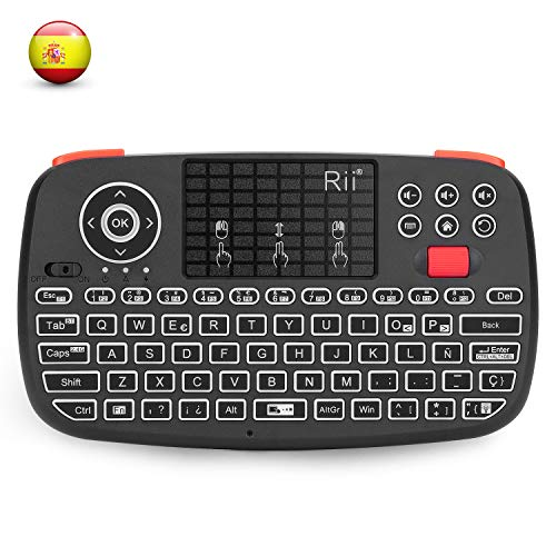 Rii i4 Mini Bluetooth Teclado inalámbrico retroiluminado, 2 en 1 (Bluetooth & Wireless 2.4 GHz), QWERTY español, para iOS, Android,Windows