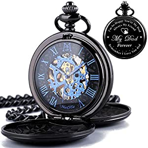 ManChDa Mechanical Double Cover Roman Numerals Dial Skeleton Engraved Pocket Watches with Box and Chain Personalized Custom Engraving