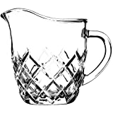 Kadax - Jarra de leche de cristal con asa, jarra para leche, jarra, salsa, café, fácil de limpiar, transparente (200 ml, rombo)