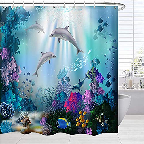 RYSSH Kids Shower Curtain Dolphin Sea World Underwater Shower Curtains for Bathroom Polyester Fabric 72 X 72 Inches with 12 Hooks