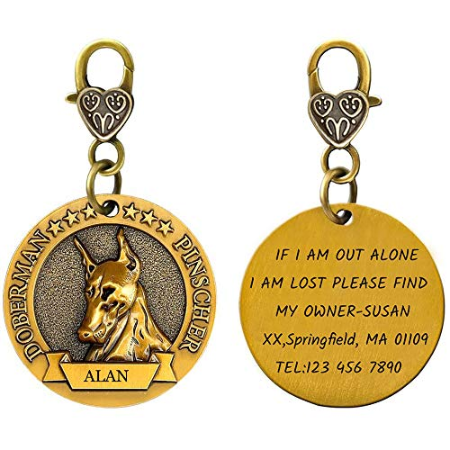 Personalized Pet ID Tags for Dog with 3D Breed Effect, Free Double Side Laser Engraved Custom Copper Alloy Tag for Small,Medium,Large Dog(Brass Plating)