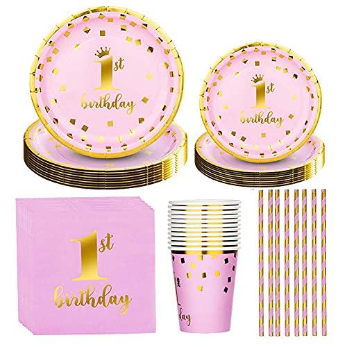 Amycute Baby Shower Decoración Party Vajilla de 1er Cumpleaños Niñas Vajilla Rosa Dorado Decoración De La Corona Suministros para Fiestas De Cumpleaños