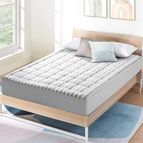 """COTTONHOUSE Queen Size Cooling Mattress Topper Pad Cover, Cotton Top Pillow Top with Down Alternative Fill (8-21"""" Fitted Deep Pocket), Grey Stripe"""