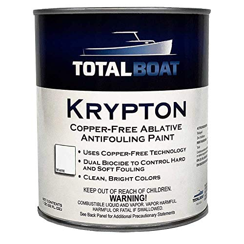 TotalBoat Krypton Copper Free Antifouling – Marine Ablative Boat Bottom Paint | for Fiberglass, Wood, Aluminum & Steel Boats | Ideal for Outdrives & Trim Tabs (White, Gallon)