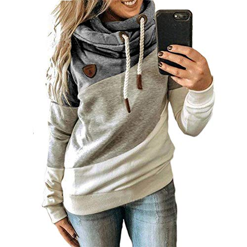 ZFQQ Autumn and Winter Women's Multicolor Stitching Leopard Print, Camouflage Hooded Fleece Casual Sweater