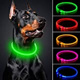 BSEEN LED Dog Collar - Cuttable Water Resistant Glowing Dog Collar Light Up, USB Rechargeable Pet Necklace Loop for Small, Medium, Large Dogs (Neon Green)