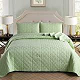 Exclusivo Mezcla 3-Piece Queen Size Quilt Set with Pillow Shams, as Bedspread/Coverlet/Bed Cover(Grid Weave Seafoam Green) - Soft, Lightweight, Reversible& Hypoallergenic