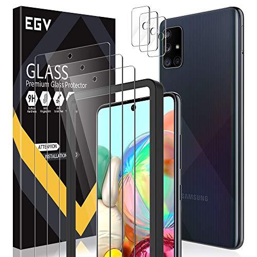 EGV Compatibile con Samsung Galaxy A71 Protector de Pantalla,3 Pack Cristal Templado e 3 Pack Protector de Lente de Cámara