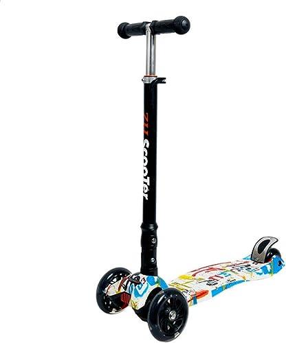 1-1 Kinder Scooterm, Klappbar Blinkenden LED Rollen H nverstellbar Verstellbarer Lenker Leicht Stunt mädchen Junge-Geeignet Für 3+ Dreirad Roller,A