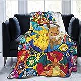 haoshuang Camping Le Dessin animé Beau Jeter Pique-Nique Durable Dessin animé Siesta Parc Doux Anime Pokemon Couvre-lit canapé Couverture pépinière Polyvalent Bikachu literie