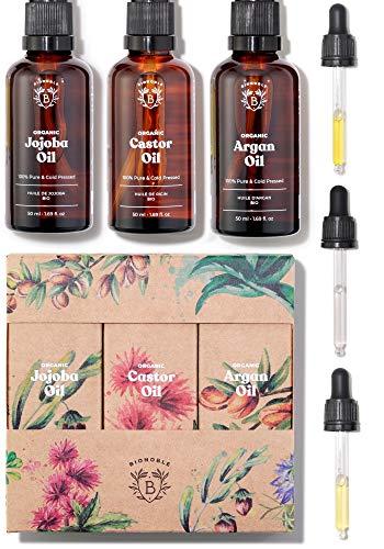 BIO RIZINUSÖL, ARGANÖL & JOJOBAÖL | Pflege-set Pflanzliche Öle Bio | 100% Rein, Natürlich & Kaltgepresst | Gesicht, Körper, Haare, Nägel | Glasflaschen + Pipetten + Pumpen (3 x 50ml)