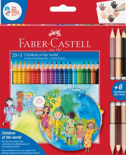 Faber-Castell 201747 - Colour Grip Buntstifte Children of the world, 20 Buntstifte + 3 Stifte mit je 2 Hautfarben Skin Tones, 1 Stück