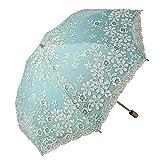 Honeystore Travel Sun Parasol Folding Brolly Anti-uv Sunshade Vintage Umbrella Printed Glitter Design 2 Folding Green