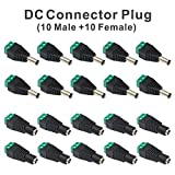 Faittoo Connettore DC, 10 Maschio + 10 Femmina 5.5mm x 2.1mm 12V Barrel Power Jack Adattatore per CCTV Security Camera DVR e LED Strip Light