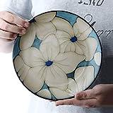 KANJJ-YU Plato redondo de cerámica de 20,32 cm – creativo chino pintado a mano carne pasta ensalada plato de desayuno cocina