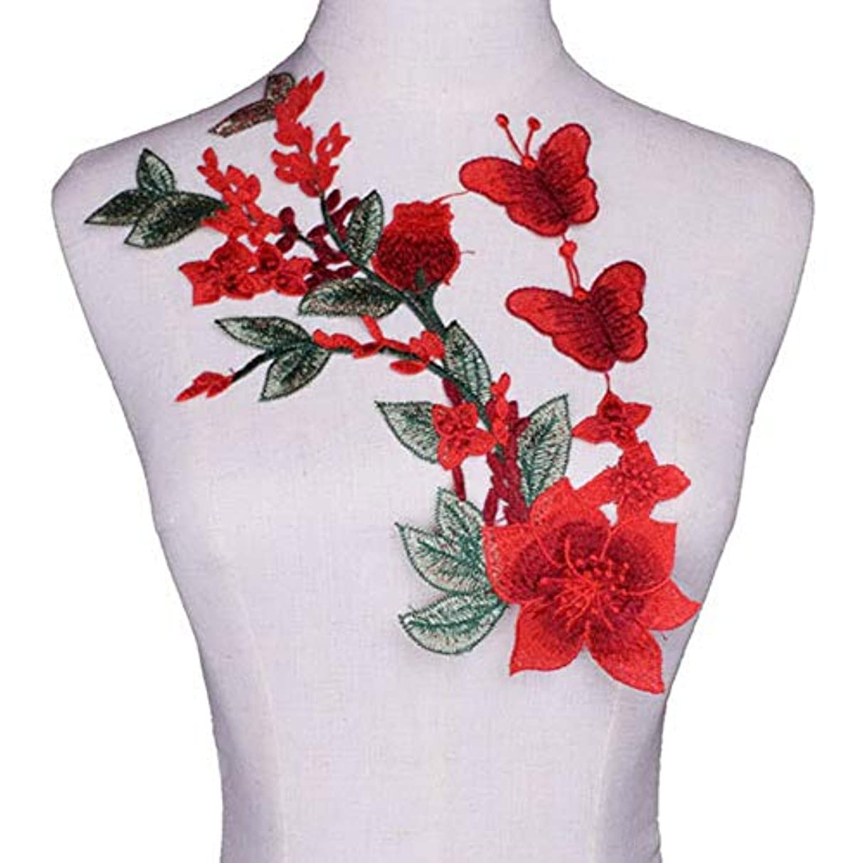 Red Flower Floral Embroidered Lace Neckline DIY Collar Trim Clothes Sewing Applique Embroidery Edge for Sewing Supplies Crafts (9#)