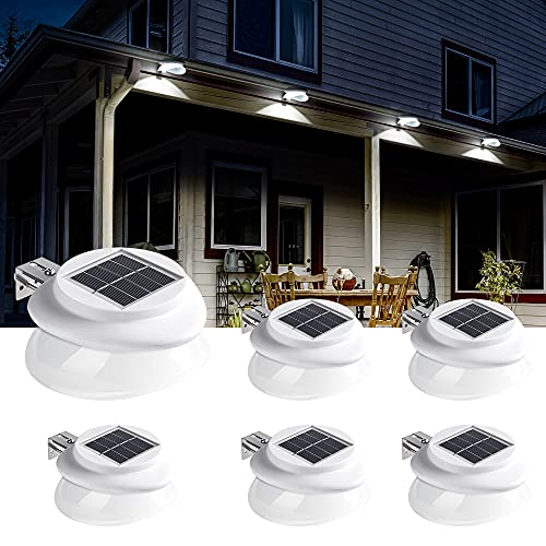 Solpex Solar Gutter Lights Outdoor 6 Pack, 9 LED Deck Fence Lights Waterproof for Wall, Deck, Fence, Stair, Step and Yard(White)