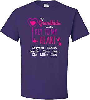 Personalized Grandma Shirt with White Customized Text for Grandkids Names, Key to My Heart