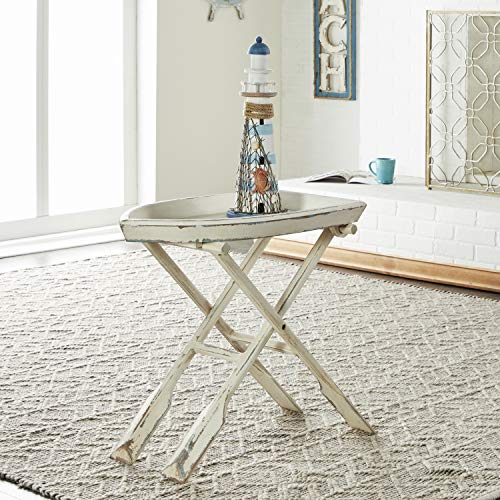 Deco 79 20439 Wood Folding Table, 28' x 25', Distressed Taupe with Whitewash Finish