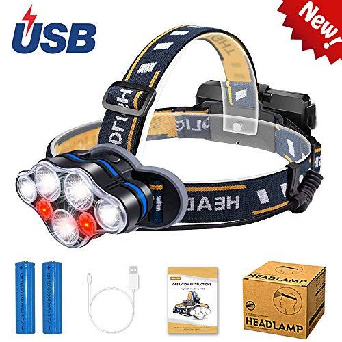 AUKELLY LED Linterna Frontale Recargable Frontal Luz Cabeza Linterna Frontales Alta Potencia,Lámpara de Cabeza 8 Modos,Frontale Linterna 1000 Lumen,USB Frontal para Camping,con 18650 Baterías