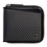 (ミラグロ)Milagro リアルカーボンF ラウンドファスナー 2つ折り財布 ( 財布 メンズ カーボン 革 ) eami013 (ブラック)