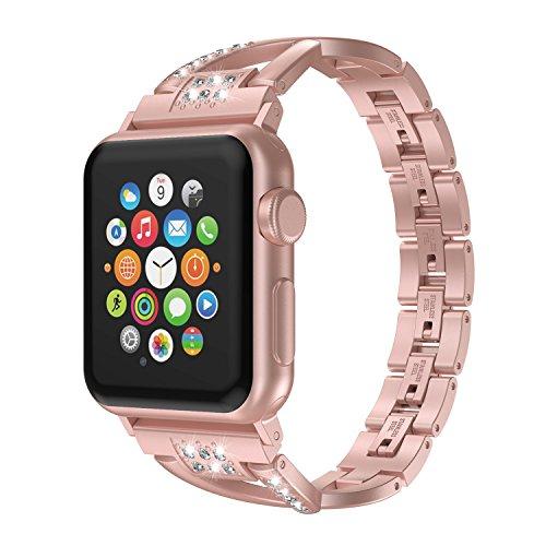 AppleWatchバンド/AppleWatch5バンド,Wearlizerアップルウォッチapplewatchseries4/3/2/1対応アップルウォッチ4バンドapplewatch4バンドiwatchステンレス軽量調整工具不要(ローズゴル,38mm40mm)