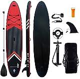 Aufblasbares Stand Up Paddel Board - 10'6'' SUP Board Set | 320x81x15cm | 6 Zoll Dick | Surfboard Wassersport | inkl. Tasche/Paddel/Finne/Luftpumpe/Repair...