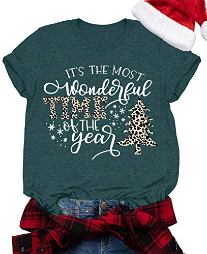 Its The Most Wonderful Time The Year Shirt Women Funny Leopard Plaid Christmas Tree T-Shirt Holiday Graphic Tee Tops (Green, X-Large)