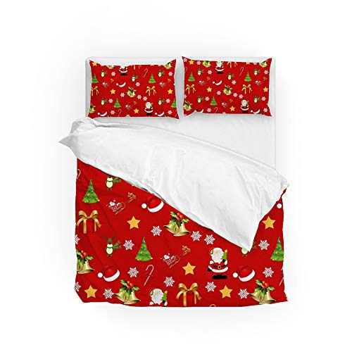 ColourLife Conjunto de capa de edredom longo tamanho solteiro Natal padrão vermelho microfibra macia conjunto protetor de edredom 3 peças (1 edredom e 2 fronhas) jogo de cama 180 x 210 cm